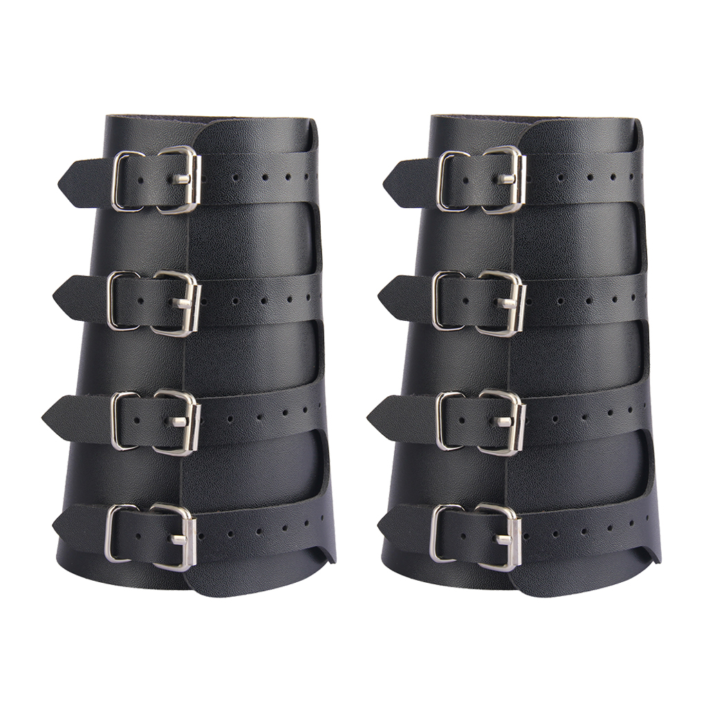 Mens Faux Leather Cuff Archery Arm Guards Wide Knight Bracers Medieval Unisex Armor Vikings Gauntlet Wristband