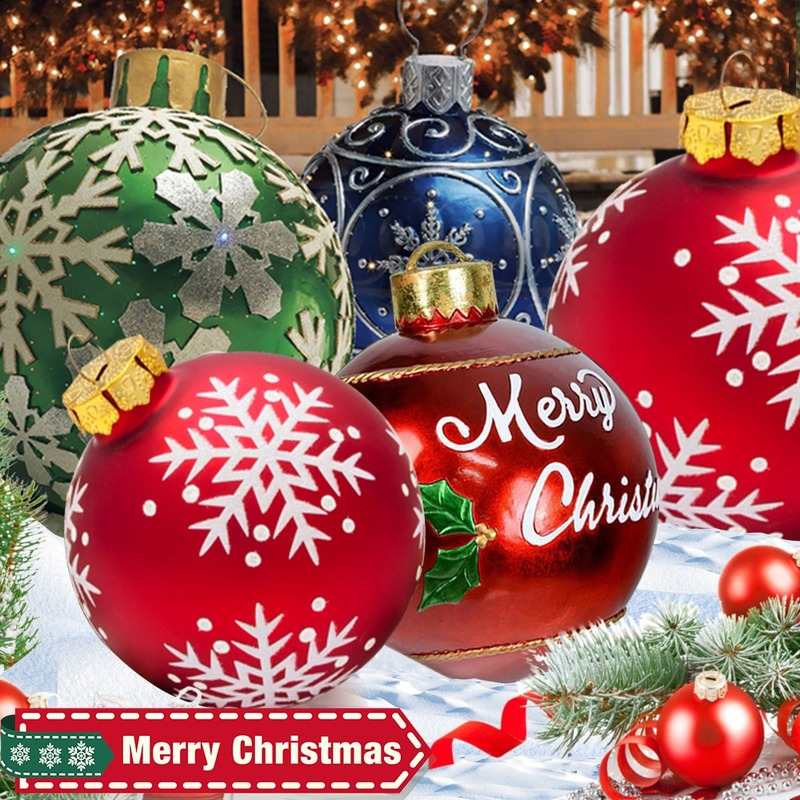60cm Christmas Balls Christmas Tree Decorations Christmas Gift Xmas Hristmas Decorations for Home Outdoor PVC Inflatable Toys