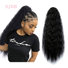 XJBB  22 inch Afro Puff Long Kinky Curly Drawstring Ponytail for Women Clip in Wavy Natural Pony Tail Hair Extensions