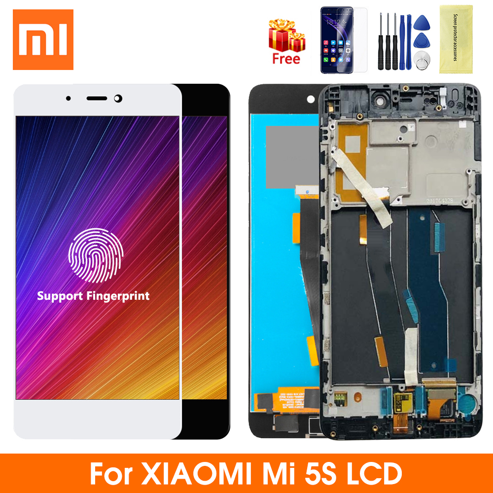 Super Amoled For Xiaomi Mi 5S Display With Fingerprint Frame Touch Screen Replacement Digitizer Assembly For Xiaomi Mi5S M5S LCD