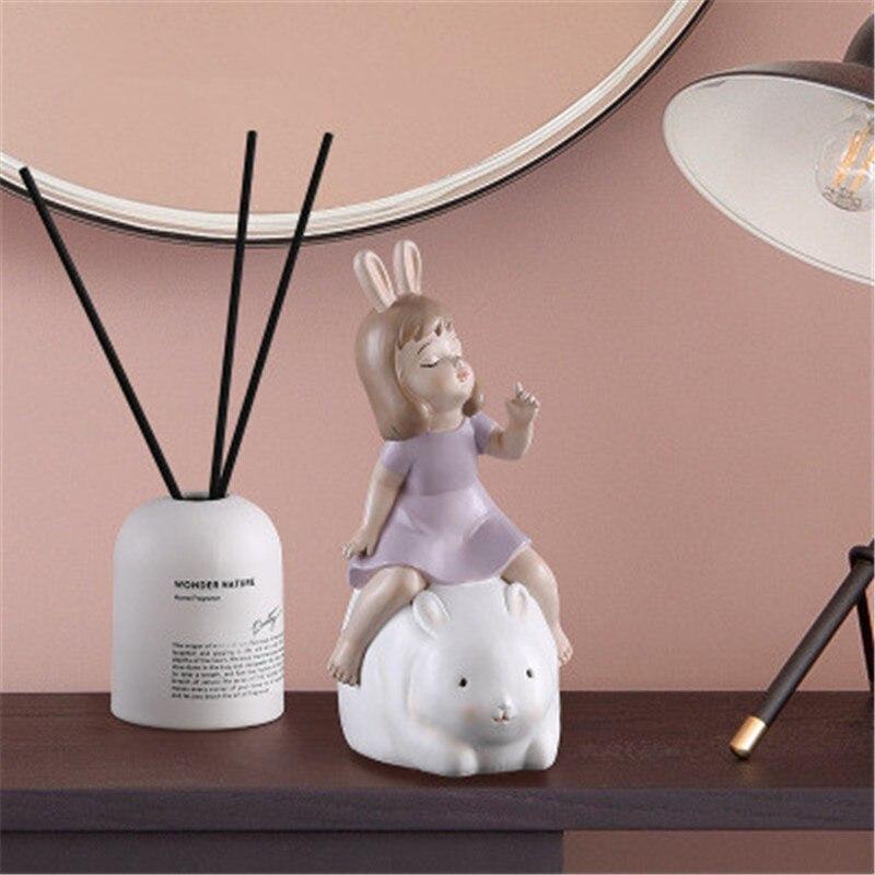 Style européen conte de fées mignon fille monte un lapin céramique artisanat boîte à musique créative enfants chambre décoration X2644