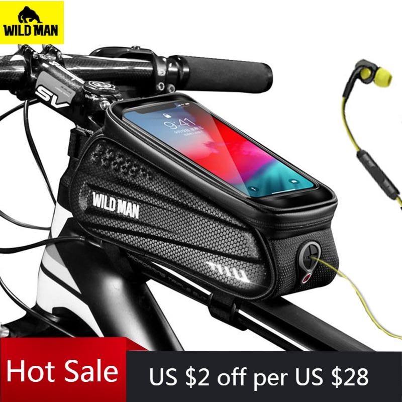 Дикий человек непромокаемые MTB велосипедная сумка Велоспорт переднюю верхнюю раму для смартфона сумка светоотражающий чехол для телефона, ...