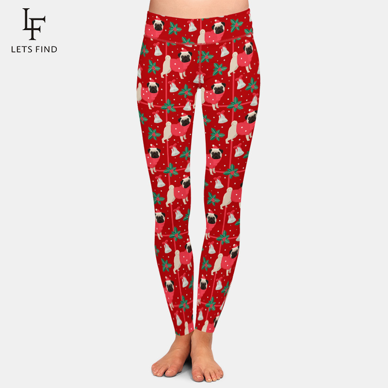 LETSFIND Winter New Women High Waist Plus Size Elastic Leggings 3D Christmas Pugs Printing Milk Silk Print Casual Leggings