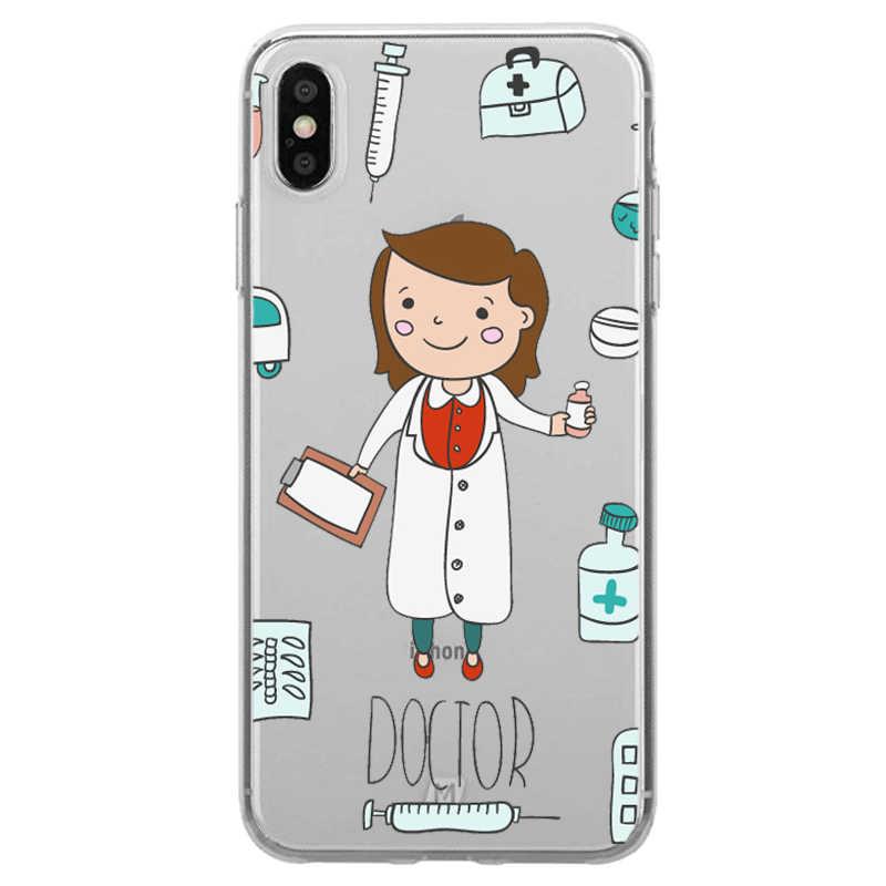 Spain Cute Cartoon Medicine Nurse Doctor Dentist TPU Soft Silicone Case For iPhone X10 XR XS MAX 7 8 8Plus 5S SE 6 6S 6Plus