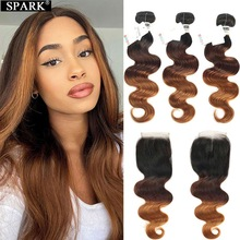 Lace Closure Bundles Remy-Hair Body-Wave Spark Ombre 100%Human-Hair Brazilian Weaves-Extension