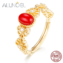 ALLNOEL Solid  925 Sterling Silver Red Coral  Ring  Zircon Gold Plated  Design Wedding Engagement  Honorable Retro Women  Rings