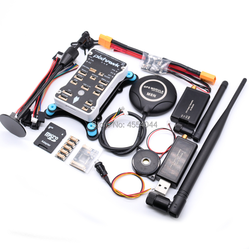 Pixhawk PX4 PIX 2.4.8 32 Bit Flight Controller+M8N GPS+433/915Mhz Radio Telemetry+XT60 power module+gps holder+PPM+I2C+ 4G SD(China)