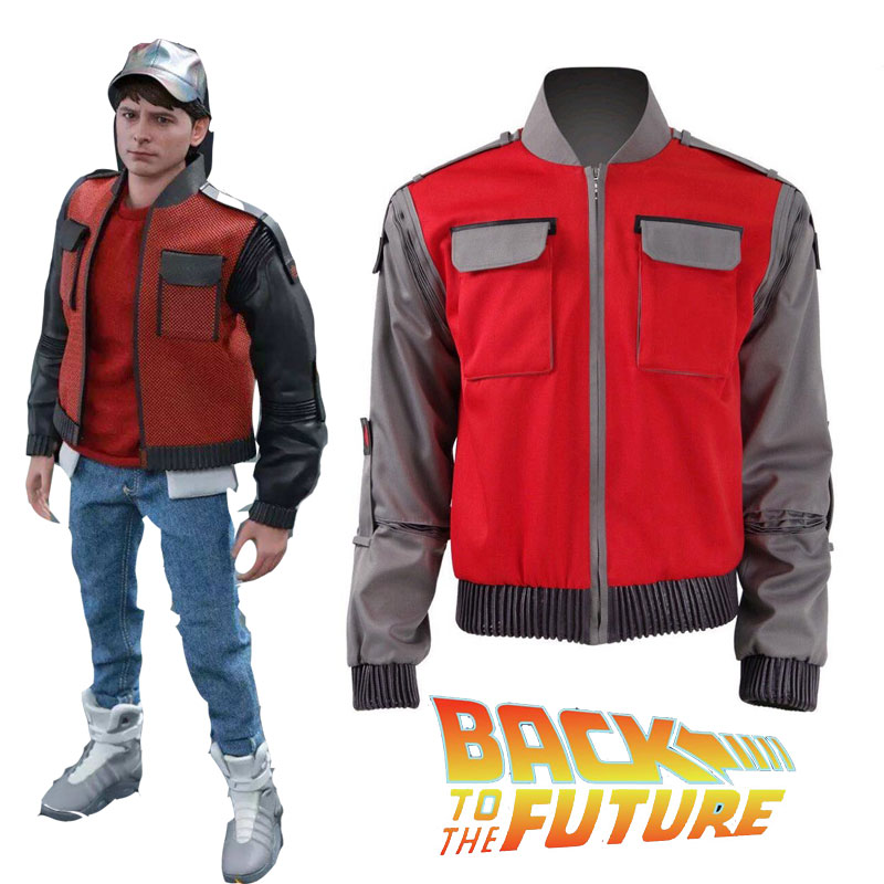 Movie Back To The Future Cosplay Jacket Jr Marlene Seamus Marty  Costume Orange Coat Outwear Men Halloween Carnival Outfit