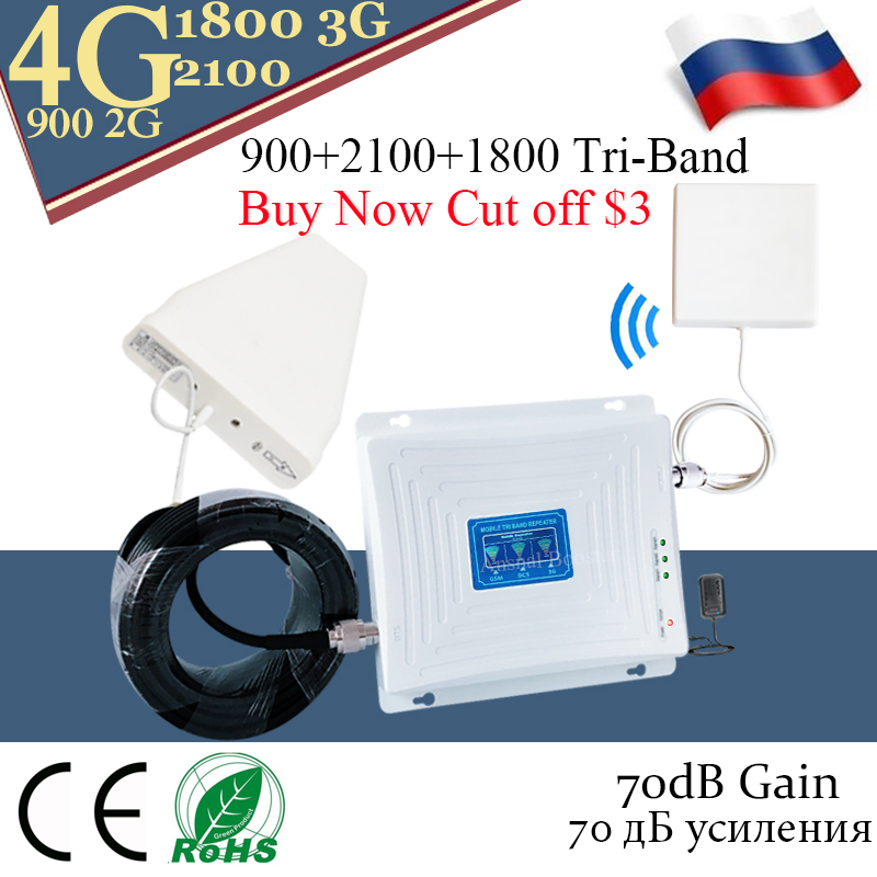 4G Signal Repeater 900 DCS LTE 1800 WCDMA 2100 Tri-Band Signal Booster Mobile Phone 2G 3G 4G Cell Phone Cellular Repeater
