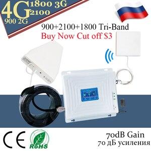 Image 1 - 4g repetidor de sinal 900 dcs lte 1800 wcdma 2100 tri band impulsionador de sinal telefone móvel 2g 3g 4g celular repetidor
