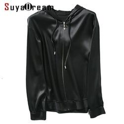 SuyaDream Women Silk Hoodies 92.1%Silk 7.9%Spandex Solid Black Hooded Zip-up 2020 Spring Summer Outwear