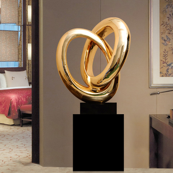 Modern Crossed Circles Sculpture Electroplated Resin Sculpture Abstract Sculpture Marble Base Statues For Home Decor Accessories