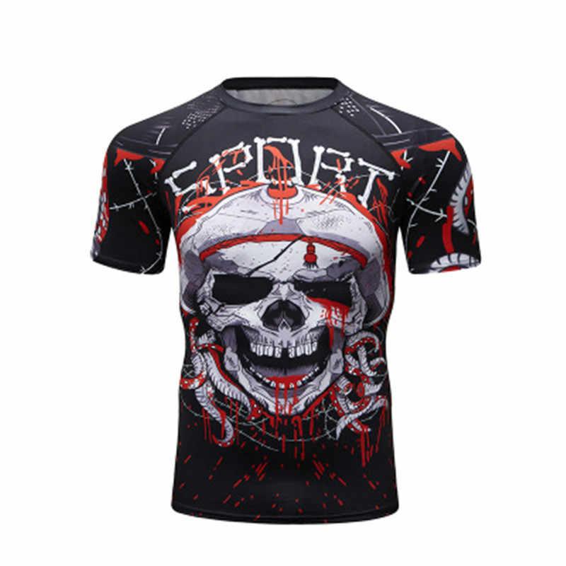 Camisa do esporte dos homens da compressão do treinamento do gym do muay thai da camiseta do boxe de bjj camisas do esporte dos homens mma rashguard jiu jitsu