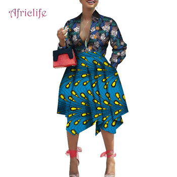WY6969 Turn-down Collar Sexy Lady Skirt 2020 Fashion Patchawork Ankara Clothing  Long Sleeve Spring Fall African Women Dresses