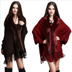 GOOHOJIO Women Cardigan Sweater Thick Poncho Capes Femme Winter Bat Sleeve Fur Collar Wool Sweater Knitted Wome Long Cardigan