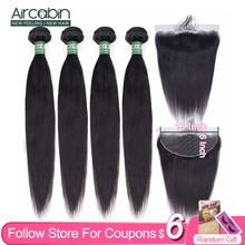 Aircabin Straight Hair Bundles With 13x6 Lace Frontal Brazilian Remy Human Hair For Women Bundles Extensions And Lace Closure