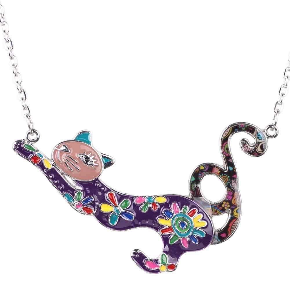 Bonsny Enamel โลหะผสมที่มีสีสันแมวแมวสร้อยคอสร้อยคอสร้อยคอสร้อยคอสร้อยคอเครื่องประดับสำหรับสาวผู้หญิงใหม่ Charm ของขวัญ 2019 ใหม่ร้อน