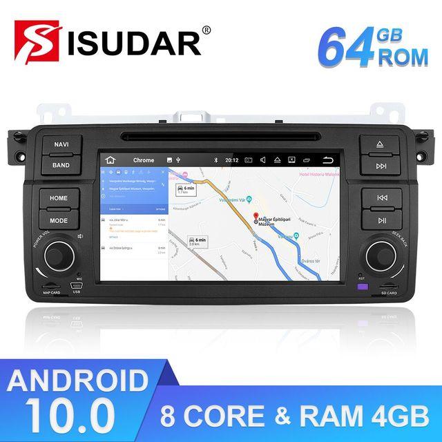Isudar 1 Din Автомобильный мультимедийный плеер Android 10 GPS Авторадио Стерео система для BMW/E46/M3/Rover/3 серии RAM 4G ROM 64GB fm радио