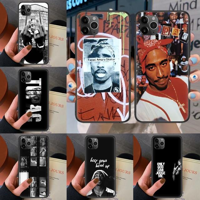 ראפר 2pac הזמר טופאק טלפון מקרה עבור Iphone 4 4S 5 5S SE 5C 6 6S 7 8 בתוספת X XS XR 11 12 מיני Pro מקסימום 2020 שחור Coque רך