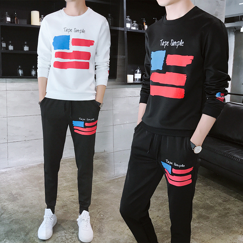 Autumn Printed Casual Sports Teenager Korean-style Hoodie Suit Hong Kong Style Fashion Youth Capri Pants Two-Piece Set