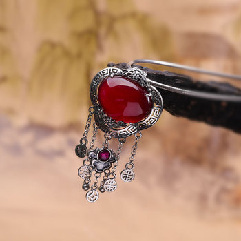 Character is tasted S925 silver jewelry wholesale handmade fine with Thai silver tassel Ms. Ruby pendant