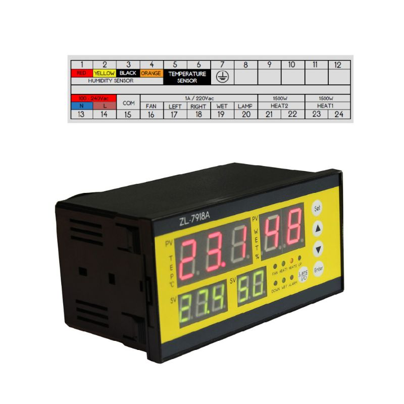 <font><b>ZL</b></font>-<font><b>7918A</b></font> Multifunction Automatic Incubator 100-240V LCD Temperature Humidity Control XM 18 Thermostat for Warehouse image