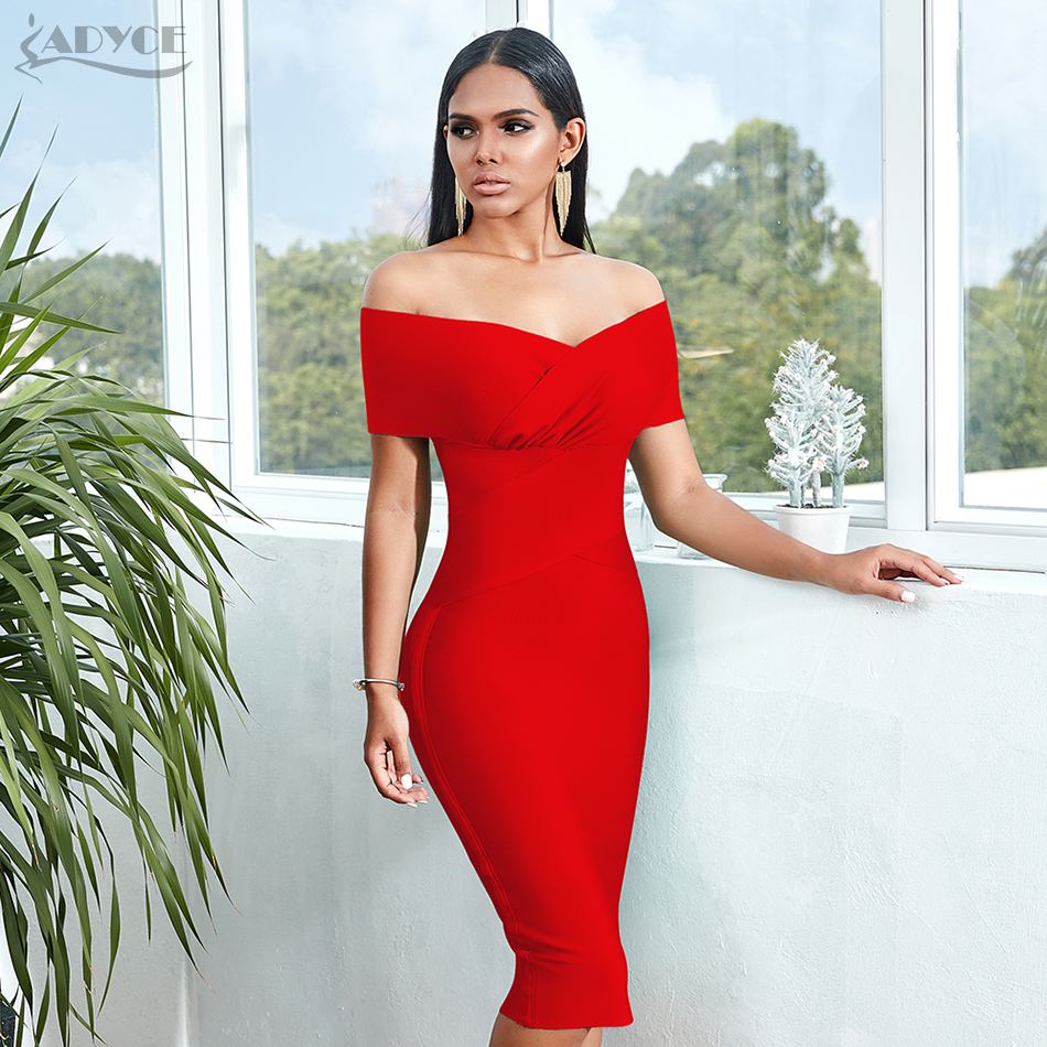 Image 5 - ADYCE New Summer Off Shoulder Bandage Dress Women 2020 Sexy Short