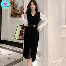 Womens 2019 autumn new OL professional temperament V-neck chiffon stitching lace bottom  dress