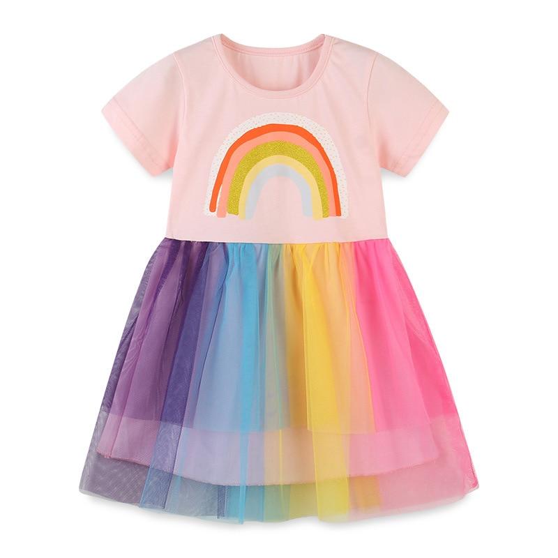 2021 юбки-пачки радужной расцветки платье для девочек детская одежда детские платья для девочек, держащих букет невесты, элегантное, милое летнее платье с короткими рукавами платье принцессы из сетчатой ткани, Vestidos, От 2 до 7 лет