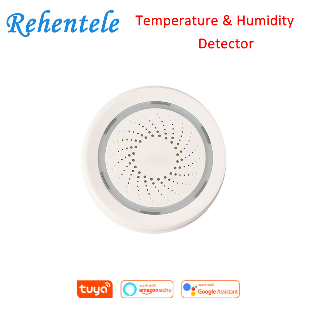 Temperature Humidity Detector Siren Amazon Google Home Assistant Tuya Wireless WiFi Alarm Sensor 3 In 1 Sensor