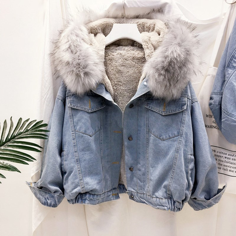 2019 velvet thick denim jacket female winter big faux fur collar Korea denim coat female student