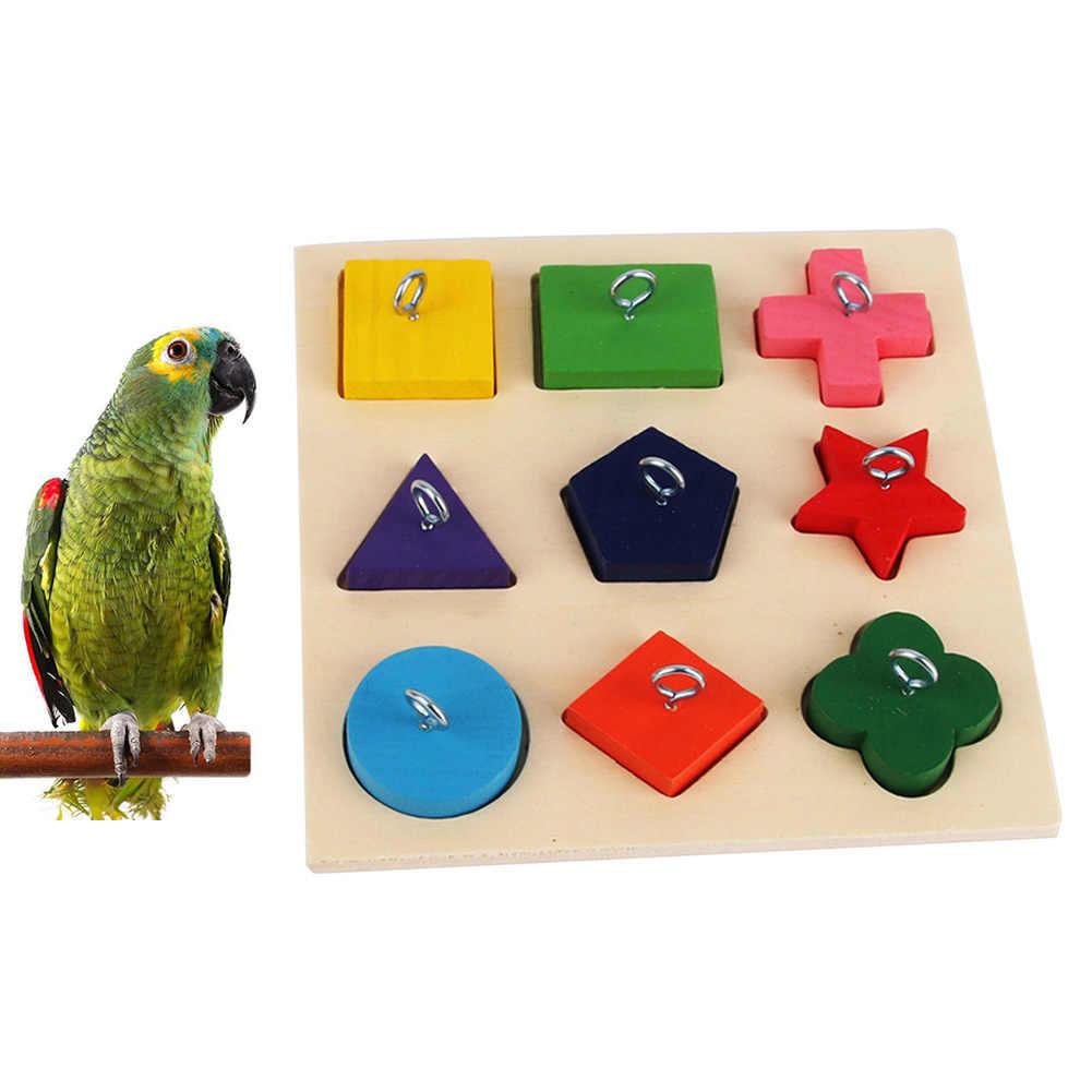Drewniane zwierzęta ptak papuga 9 siatki gwiazda trójkąt bloki pierścień szkolenia Puzzle DIY żuć gryźć Puzzle grać papuga akcesoria do zabawek
