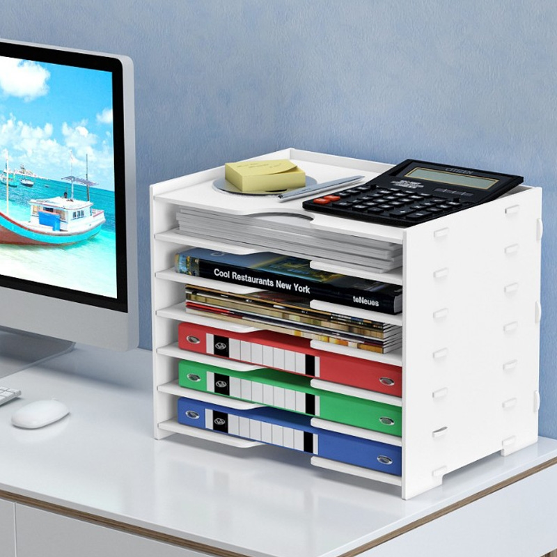 Wooden Home Office Storage Boxs A4 Paper File Holder Multi-layer Sundries Storage Box Bedside Organizer Desktop Storage Holder