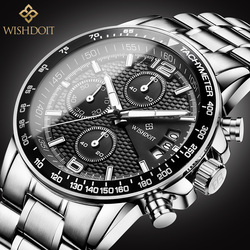 WISHDOIT Sports Watch Men's Luxury Chronograph Watch Leather Strap Steel Belt Fashion Quartz Clock Waterproof Luminous