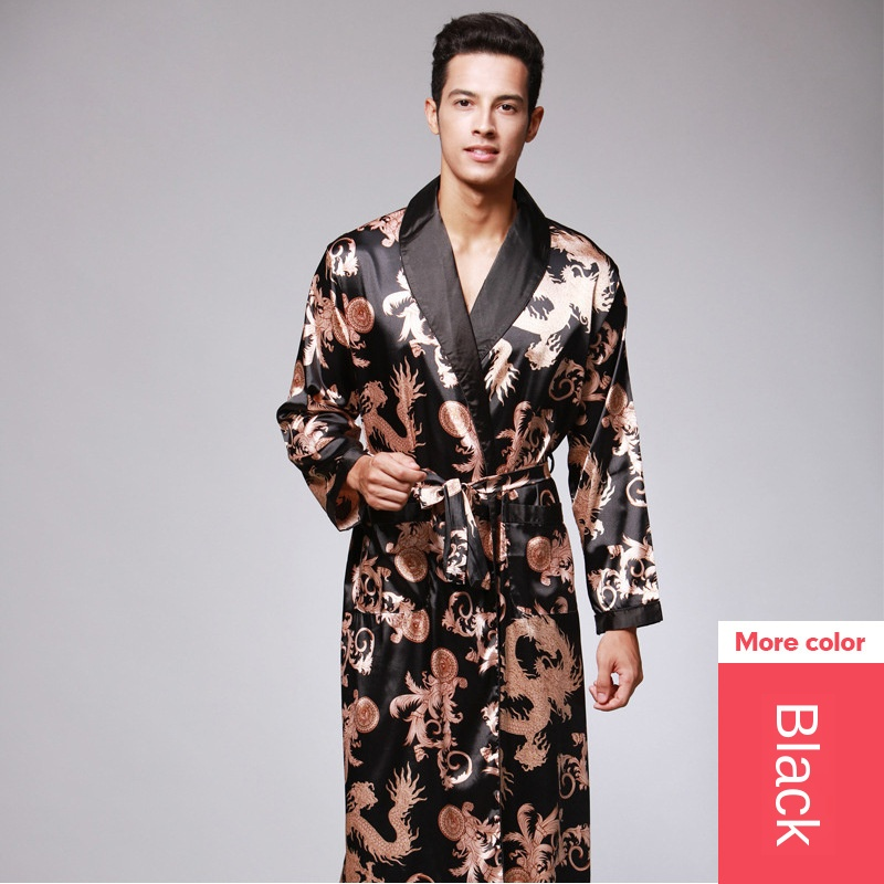 SAMWESTART Men's Stain Silk Pajama Robes Summer Hot Selling Pajamas Long Sleeve Men Robe Bathrobe House Robes