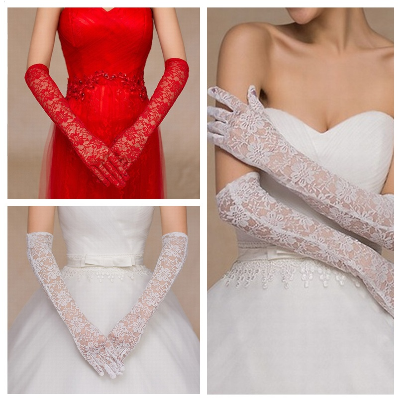Pink Gloves Ladies Cheap Wedding Gloves Long Bridal Glove Sheer White Lace Gloves Finger For Bride Accessoire Elbow Length