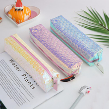 Holographic Laser Pencil Case School For Girl Student  Quality PU Box Cosmetic Bag Supply Stationery