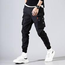Calças de carga masculina cor sólida preto solto casual jogger bolso elástico na cintura tornozelo comprimento calças techwear