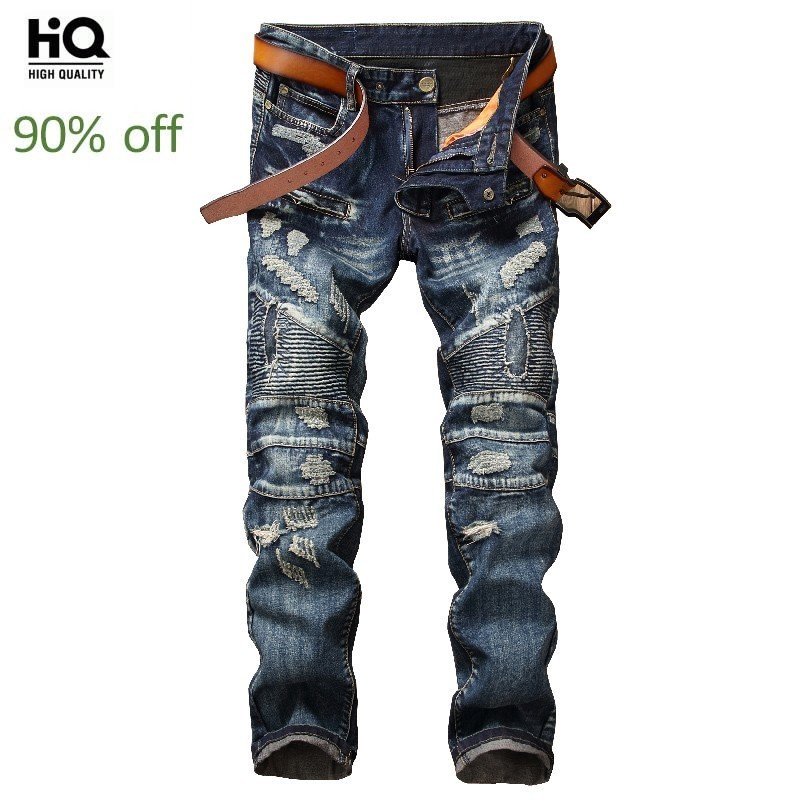 Male Fashion 2020 Spring New Brand Distressed Patchwork Men's Jeans Full Length Straight Vintage Cowboy Pants Man Hip Hop Jean