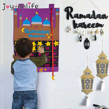 2021 eid mubarak 30 dias calendário advento pendurado feltro contagem regressiva calendário presentes para crianças lamic muçulmano ramadan decoração de festa