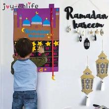 2021 Eid Mubarak 30days Advent Calendar Hanging Felt Countdown Calendar Gifts for Children Lamic Muslim Ramadan Party Decor