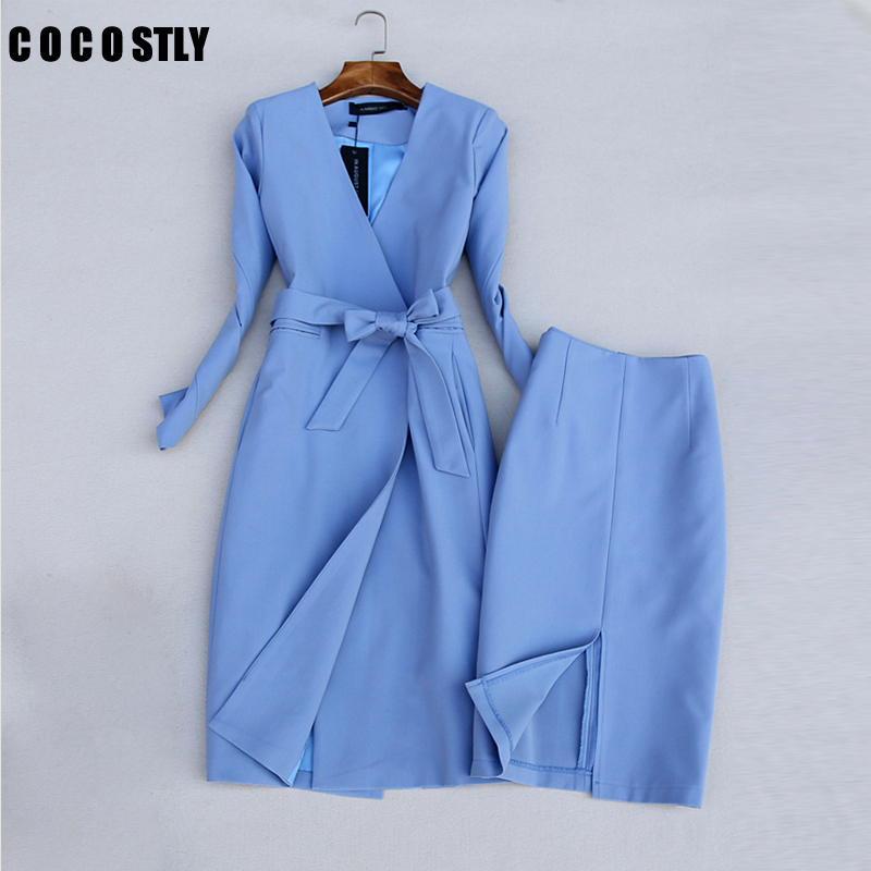 Two Piece Set Lady Casual Long Blazer + Mini Skirt Set Women Spring Autumn 2020 New Female Office OL Outfits Workwear