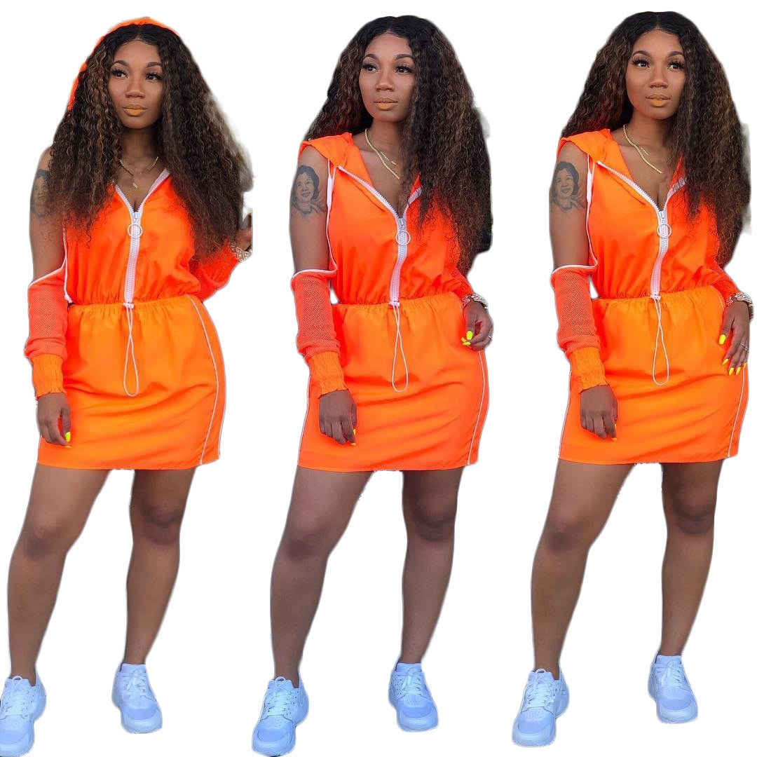 Tide Hooded Crop Top And Mini Pencil Skirt Mesh Set Short Women Cold Shoulder Solid Suit Casual Two Piece Outfits