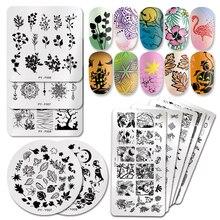 PICT YOU placas de estampado de uñas para Halloween, plantillas de estampación de uñas con imágenes de flores de calabaza, animales, Tropical, diseño geométrico, con encaje