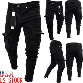 Long Pencil Pants Ripped Jeans Slim 2