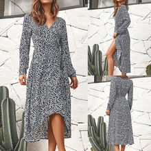 Dress women Long sleeved casual chiffon ladies dress floral  Bandage Wrap sexy party Maxi office lady Vintage