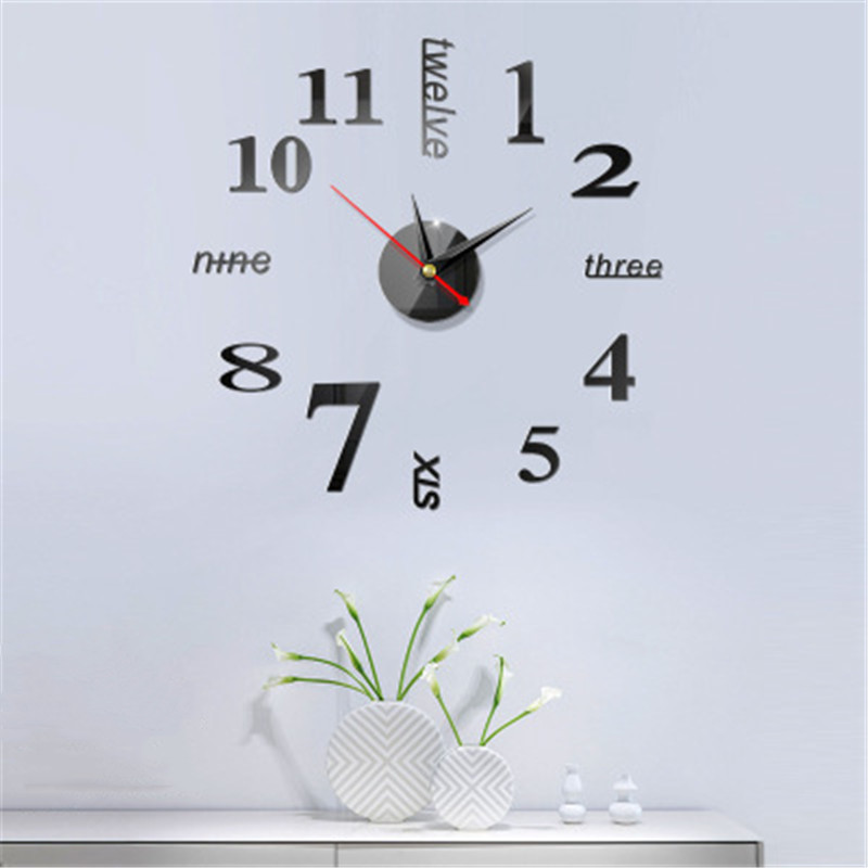 Large Digital Display Home Use Art Modern European Style Wall Clock 3D Stickers Simple Acrylic Mirror DIY Accessories Watch 1