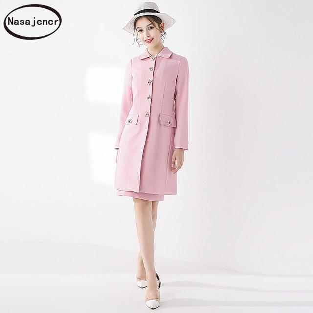 2019 New Autumn Elegant  Celebrity Temperament Slim Cotton  Button Long Sleeve Temperament Trench Coat