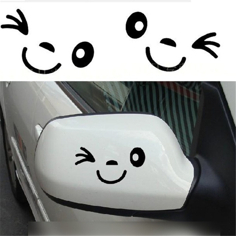 1 Pair Cute Smile Face 3D Decal Sticker For Auto Car Side Mirror L+R Rearview