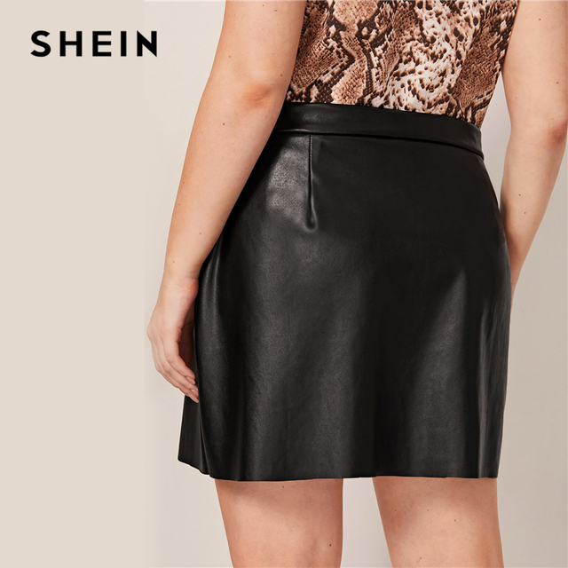 SHEIN Plus Size Black O-ring Zip Front PU Pencil Skirts Womens Autumn Solid Faux Leather Motor Storm Glamorous A Line Mini Skirt 1
